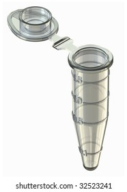 Unused microcentrifuge tube in isometric view