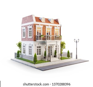 Unusual 3d illustration of a beautiful house with white entrance, lawn and small cute garden at the road in nice neighborhood. Isolated