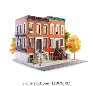 Unusual 3d illustration of Brownstone buildings in Neighborhood sidewalk in autumn. Isolated