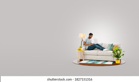 Unusual 3d illustration of a businessman working on laptop computer sitting on a couch at his home office.