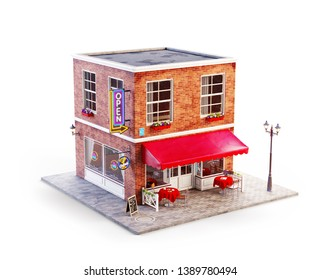 Unusual 3d illustration of a cafe, pub or bar building with red awning, neon signs and outdoor tables