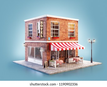 Unusual 3d illustration of a cozy cafe, coffee shop or coffeehouse building with striped awning and outdoor tables