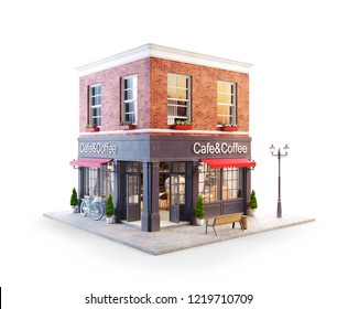 Unusual 3d illustration of a cozy cafe, coffee shop or coffeehouse building with red awning. Isolated