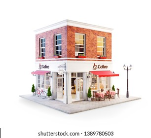 Unusual 3d illustration of a cozy cafe, coffee shop or coffeehouse building with red awning and outdoor tables. Isolated