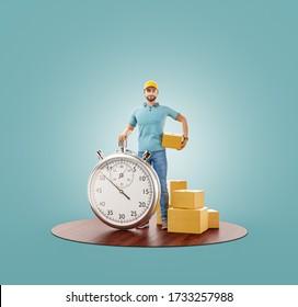 Ilustración inusual en 3d del Hombre de entrega con cronómetro de cronómetro de sujeción caja de cartón. Concepto de entrega y cargo. Compras en línea y entrega rápida .