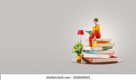 Inusual 3d ilustración de lecturas femeninas sentadas en un montón de libros.