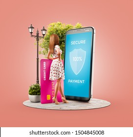 Unusual 3d illustration of a Happy woman with credit card doing online payment using smart phone application. Smartphone payment apps concept. Secure payments