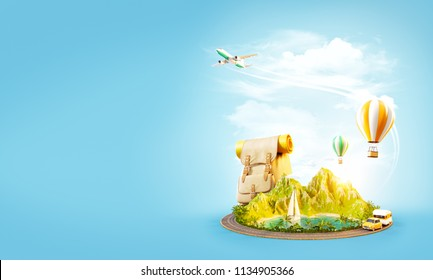 Unusual 3d illustration of a mount with tropical beach and road around. Travel and vacation concept.