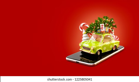 Unusual 3d illustration of a Santa's car with gift boxes and christmas tree on the top. Christmas smartphone application. Merry Christmas and a Happy New Year concept.