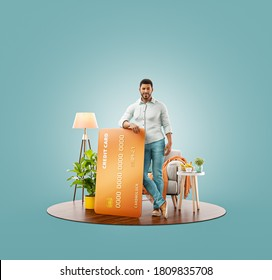 Unusual 3d illustration of a smiling young black man with credit card at his home. Payment online concept.