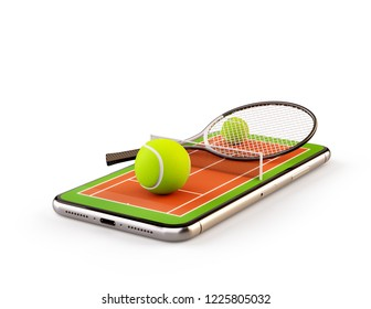 Unusual 3d illustration of a tennis ball and racket on court on a smartphone screen. Watching tennis and betting online concept. Isolated