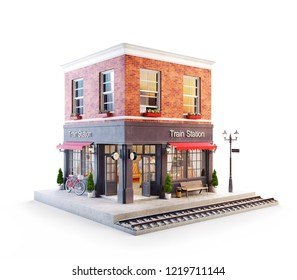 Unusual 3d illustration of a train station building and platform with bench under awning. Isolated
