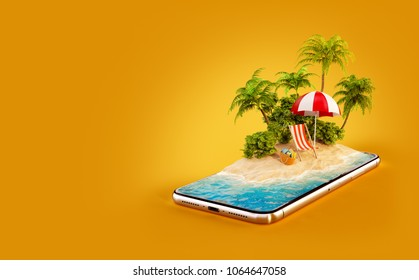 Unusual 3d illustration of a tropical island with palm trees, deckchair and umbrella on a smartphone screen. Travel and vacation concept
