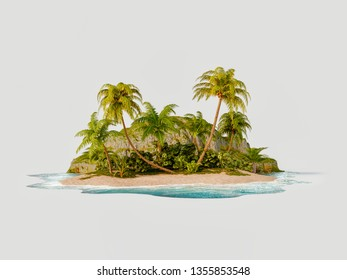 Unusual 3d illustration of a tropical island. Travel and vacation concept.