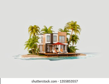 Unusual 3d illustration of a tropical island. Two young people lying on deck chairs by Luxury villa. Travel and vacation concept.