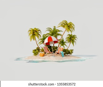 Unusual 3d illustration of a tropical island. Two deck chairs under umbrella on a beautiful beach. Travel and vacation concept.