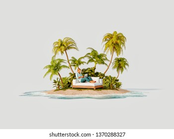 Unusual 3d illustration of a tropical island. Young man using laptop computer sitting on a white sofa on a beautiful beach in the middle of an island. Freelance work and business concept.