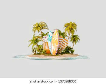 Unusual 3d illustration of a tropical island. Surfboards, flip-flops and fresh orange juice on a beautiful beach. Travel and vacation concept.