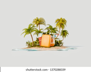 Unusual 3d illustration of a tropical island. Suitcase, fresh orange juice and passport with boarding passes on a beautiful beach. Travel and vacation concept.