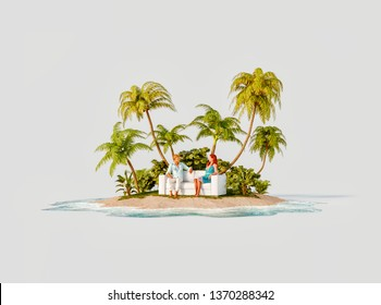 Unusual 3d illustration of a tropical island. A couple of young people sitting on a white sofa on a beautiful beach in the middle of an island. Travel and vacation concept.