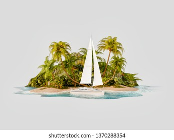 Unusual 3d illustration of a tropical island. Luxury white yacht by beautiful island. Travel and vacation concept.