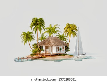 Unusual 3d illustration of a tropical island. Luxury exotical white bungalow and yacht. Travel and vacation concept.