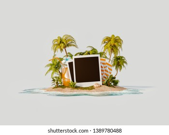 Unusual 3d illustration of a tropical island. Blank photo frames, fresh orange juice and flip-flops on a beautiful beach. Travel and vacation concept.