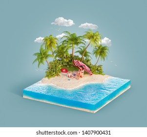 Unusual 3d illustration of a tropical island. Young mother with her kid have fun sitting on a beach. Travel and vacation concept.