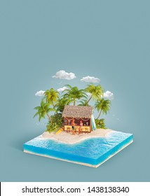 Unusual 3d illustration of a tropical island. Couple of young people sitting at bar on a beach. Tropical beach party. Travel and vacation concept.