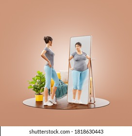 Unusual 3d Illustration of young cute sporty woman looking in the mirror and imagining herself as fat. Psychological problem. Disorder, anorexia or bulimia.