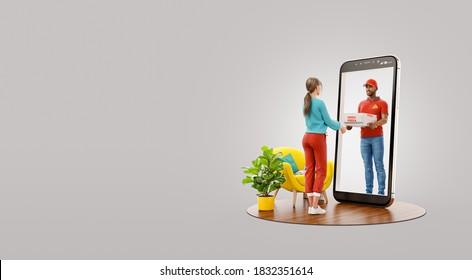 Ilustración inusual en 3d de una joven que recibe pizza de un mensajero a través de la pantalla del smartphone. Servicio de entrega de alimentos. Concepto de entrega de pizza.