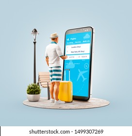 Inusual 3d ilustración de un joven parado frente al smartphone y usando la aplicación agregadora de tarifas de viaje para buscar vuelos. Concepto de aplicaciones de búsqueda y reserva de vuelos baratos.
