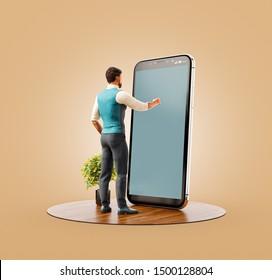 Inusual 3d ilustración de un joven parado frente a un gran smartphone en la oficina y tocando la pantalla del teléfono inteligente. Concepto de aplicaciones de smartphone.