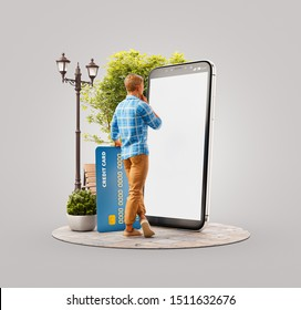 Unusual 3d illustration of a young man with credit card standing outdoors at big smartphone and using smart phone application for shopping an payment. Payment online concept.