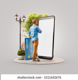 Inusual 3d ilustración de un joven con tarjeta de crédito al aire libre en un gran smartphone y usando la aplicación para comprar y pagar. Concepto de pago en línea.