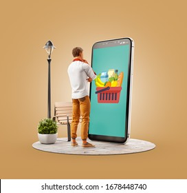 Unusual 3d illustration of a young man standing at big smartphone and making online grocery orders. Food Delivery apps concept. Online grocery shopping.