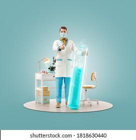 Inusual 3d ilustración de joven científico con vacuna que muestra el pulgar hacia arriba mientras está de pie en laboratorio. Bioquímica, farmacéutica y concepto de atención de la salud.
