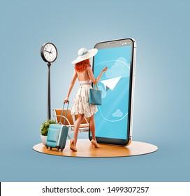 La inusual ilustración en 3D de una joven con maleta de viaje va a la gran pantalla del teléfono inteligente y usa la aplicación del teléfono inteligente. Concepto de aplicaciones de viajes para smartphone. Buscando vuelos y reservas de hotel