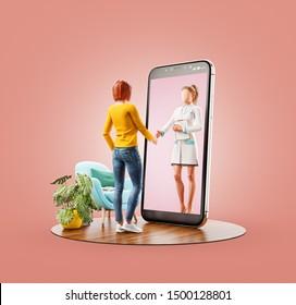Inusual 3D ilustración de una joven parada frente a la pantalla del smartphone estrechando la mano con su médico. Servicios de salud Aplicaciones de Smartphone. Concepto de consulta y apoyo médico en línea.
