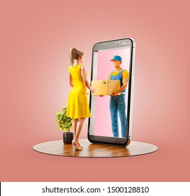 Ilustración inusual en 3D de una joven que recibe un paquete desde el servicio de mensajería a través de la pantalla de un teléfono inteligente. Concepto de entrega y envío de aplicaciones.
