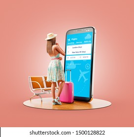 Unusual 3d illustration of a young woman in standing in front of smartphone and using travel fare aggregator application for searching flights. Cheap flights searching and booking apps concept.