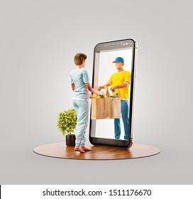 Ilustración inusual 3d de una joven que recibe el pedido de un correo. Aplicación de teléfono inteligente del servicio de entrega de alimentos. Concepto de aplicaciones de smartphone.