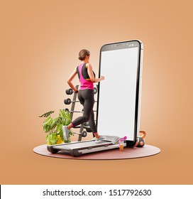 Unusual 3d illustration of a young woman in sportswear running on a treadmill in front of smartphone and using smart phone for exercises. Smartphone sports and gum apps concept.