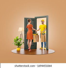 Unusual 3d illustration of a Young woman receiving bags with fresh food from courier at the door. Food delivery service. Online grocery shopping and delivery.