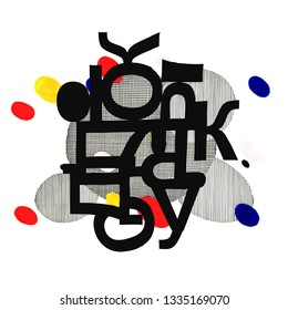 Unusual abstract composition from the letters of the Cyrillic font. Hand-drawn raster lettering illustration for your modern design.