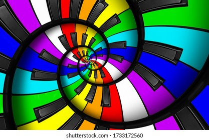 Unusual abstract rainbow piano keyboard spiral music background. Fractal like endless staircase. Rainbow colors piano keys twisted into spiral repetitive pattern. LGBT concept