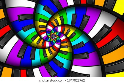 Unusual abstract rainbow piano keyboard spiral music background. Fractal like few  endless staircase. Mixed rainbow colors piano keys twisted into spiral repetitive pattern. LGBT concept