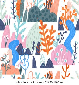 Unusual bright seamless pattern with exotic plants.
