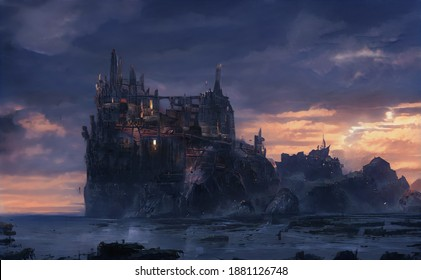 an unusual building on the mountain, a picturesque picture with a fantasy world