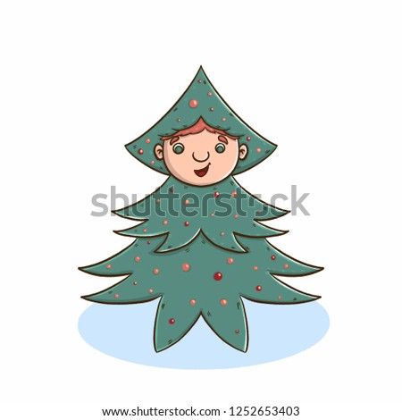 unusual christmas tree. Good New Year spirit. Print for gifts and souvenirs. Children's
